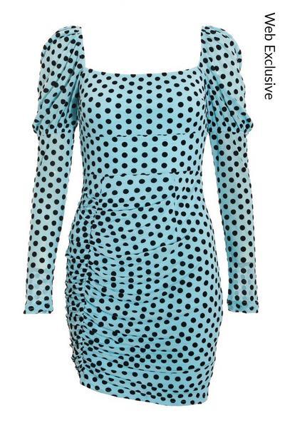 Blue Mesh Puff Sleeve Dress